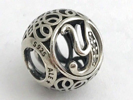 Authentic Pandora Vintage Y Sterling Silver Letter Charm, 791869CZ New - $30.39