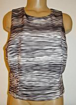Beyond Ashley Graham Woman's crop top shirt black gray abstract stripe-16-NEW - $13.96