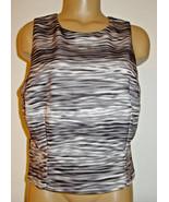 Beyond Ashley Graham Woman's crop top shirt black gray abstract stripe-1... - $13.96