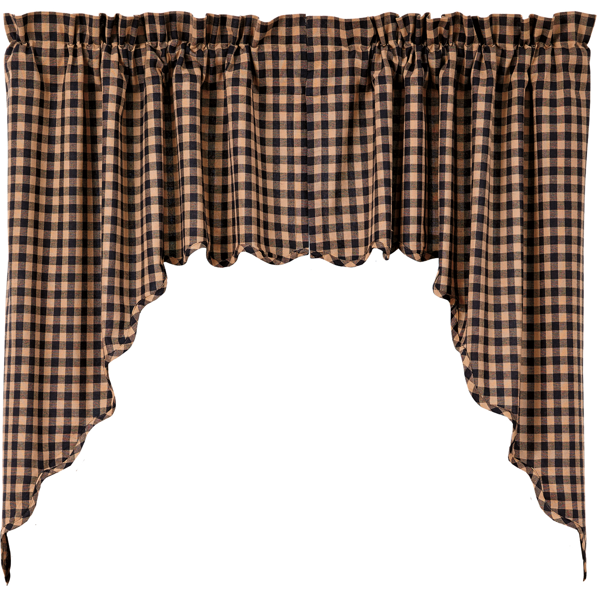BLACK CHECK Swag - 36x36x16 - Set of 2 - Raven and Khaki  - VHC Brands