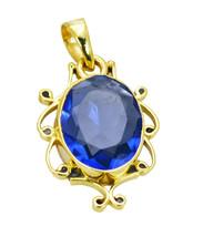 bonnie Blue Shappire CZ Gold Plated Blue Pendant Glass wholesale US - $5.63