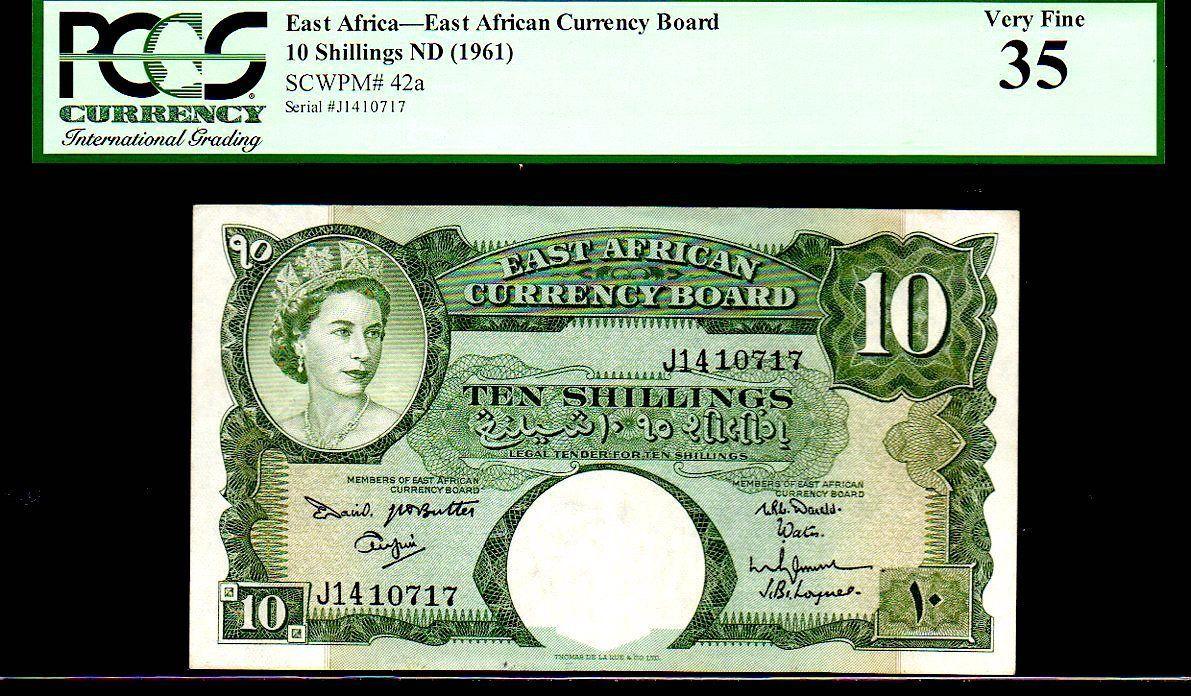 "EAST AFRICAN CURRENCY BOARD P42a 10 SHILLINGS 1961ND PCGS 35 ""QUEEN ELIZABETH II - $1,295.00"