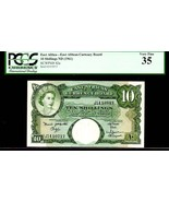 """EAST AFRICAN CURRENCY BOARD P42a 10 SHILLINGS 1961ND PCGS 35 """"QUEEN ELIZ... - $1,295.00"""
