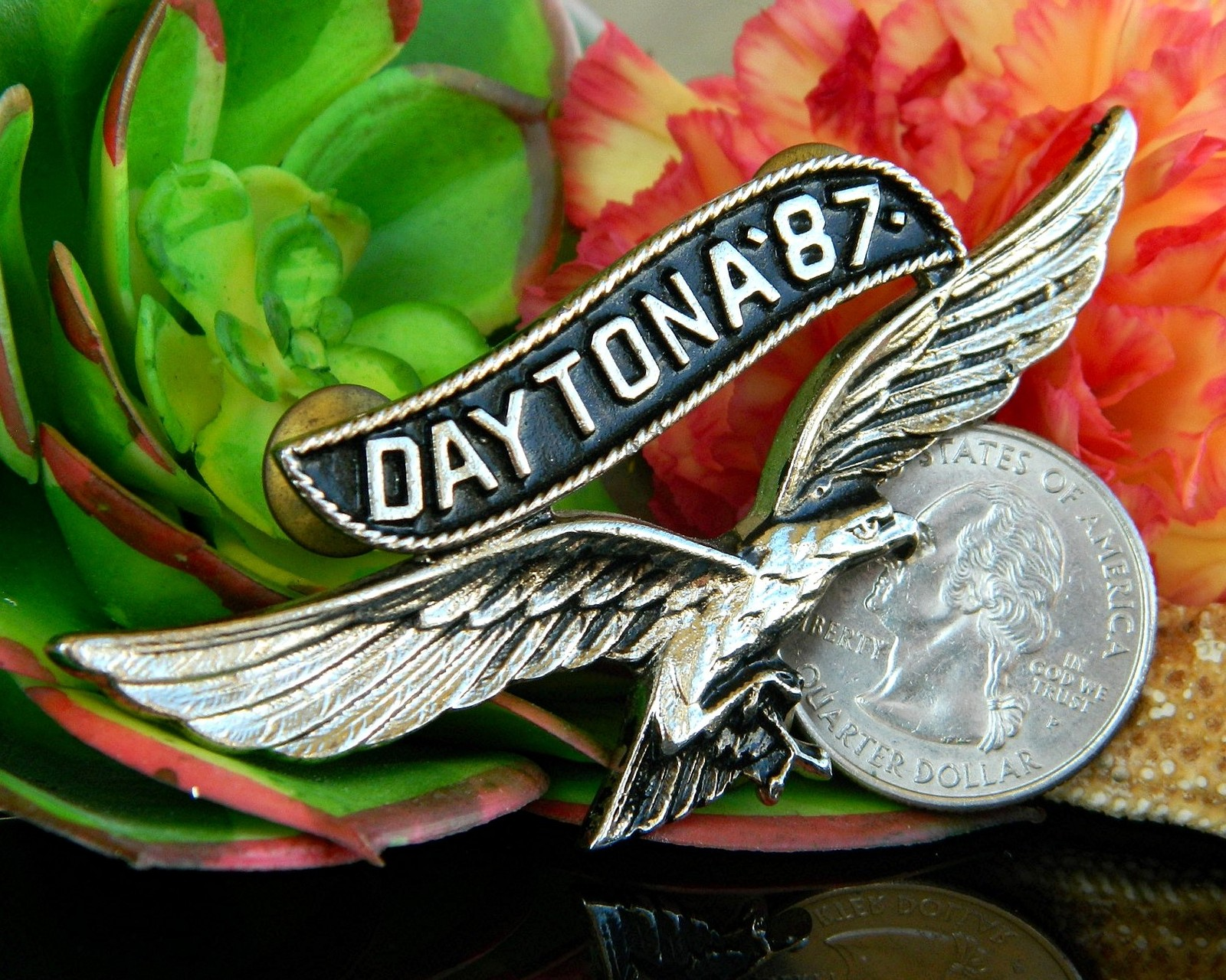 Vintage Daytona 1987 Motorcycle Rally Soaring Eagle Pin Jacket Biker image 2
