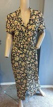 Vtg 90's Cynthia Rowley Floral Print Rayon Grunge Festival Dress 10 - $85.49