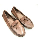 Long Tall Sally Womens Size 12 Brown Soft Leather Loafers Flats Bow  - $39.59