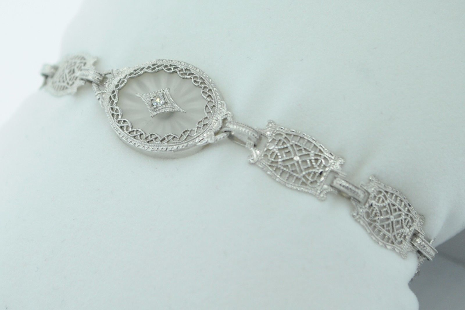 "Art Deco (ca. 1930) 10K White Gold Diamond & Etched Glass Bracelet (6 3/4"") image 6"