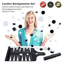 Backgammon Set Detachable Portable Roll Up, Leather Backgammon Set Game ... - $17.15