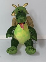 "2010 Retired 18"" BABW Build a Bear Green Dragon Fire Breathing Plush Gol... - $24.19"