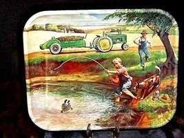 John Deere Serving Tray AA18-JD0036 with removable magnet for hanging.