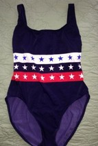 Liz Claiborne Lizsport Navy Blue w/Red White Blue Patriotic Stars Swimsuit-14 - $38.61