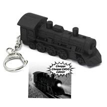 LED TRAIN ENGINE KEYCHAIN w Light and Sound Black Locomotive Toy Key Rin... - $6.95