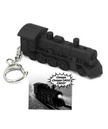 LED TRAIN ENGINE KEYCHAIN w Light and Sound Black Locomotive Toy Key Rin... - $6.95