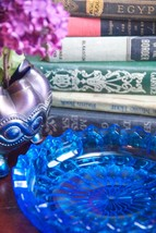 """PAIR BLUE THUMBPRINT GLASS DISHES BOWLS SAW TOOTH RIM 7"""" WIDE - $49.99"""