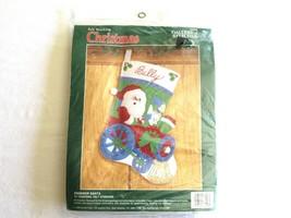 "Bucilla Engineer Santa 15"" Felt Christmas Stocking Kit 33096 Train Bear 1990 - $20.00"