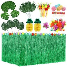 Auihiay 107 Pieces 8 Styles Hawaiian Tropical Party Decorations Set with - $35.49