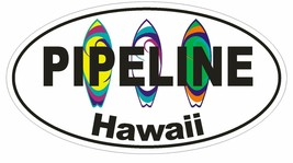 Pipeline Hawaii Oval Bumper Sticker or Helmet Sticker D1342 Surf Surfing Surfer - $1.39+