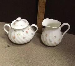 WEDGWOOD Cascade Creamer & Sugar Bowl Bone China ENGLAND - Flower Pattern - $47.41