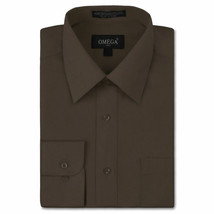 NEW Omega Italy Men's Dress Shirt Long Sleeve Solid Color Regular Fit 10 Colors image 2