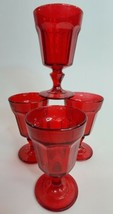 Ruby Bright Red Glass Goblets Dessert Drink Cup Stemware Regal Set of 4 ... - $58.79