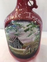 Hand Painted Gallon Bottle Glass Horse Country Farm Bank Equestrian - $49.47