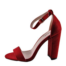 Qupid Cashmere 01 Red Suede Women's Open Toe Ankle Strap Heel  - $28.95