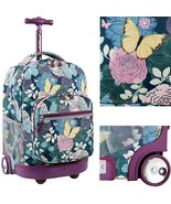 "Girls Rolling Backpack Butterfly 18"" College Bag Wheeled Carry On Travel... - $73.25"
