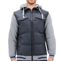 Men's Hybrid Puffer Lightweight Utility Insulated Hooded Quilted Zipper Jacket image 8