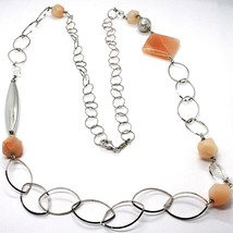 Silver 925 Necklace, Jade Brown, Length 105 cm, Chain Oval and Rolo image 2