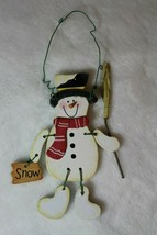 Wooden Snowman Jointed Christmas Tree Ornament Holiday Decoration - $12.64