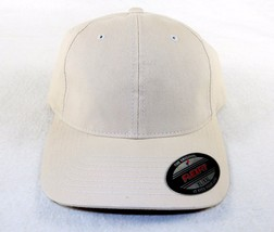 Ball Cap Hat Brushed Twill 6-Panel Elastic Headband, FlexFit Stone Color... - $10.73