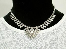 "Vintage Rhinestone 16"" Necklace Prong Set Baguette & Round Mid Century U... - $35.00"