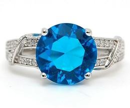 4CT Blue Topaz & Topaz 925 Solid Sterling Silver Ring Jewelry Sz 6, CU4 - $31.67