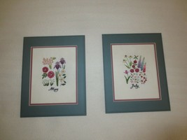 "Pair Matted MAY AND JULY Crewel Embroidered FLOWERS - 11"" x 13 3/4"" each - $7.92"