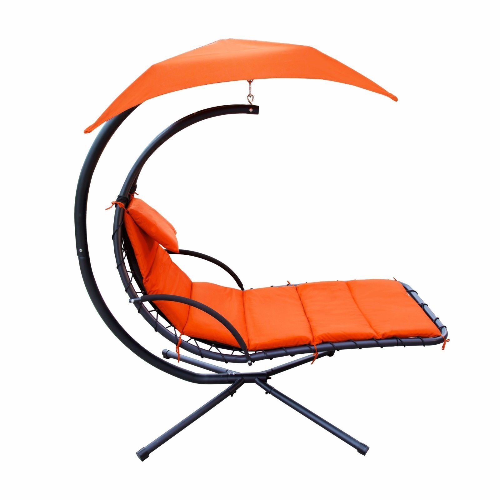Hanging Chaise Lounger Chair Air Porch Swing Hammock Arc Stand Umbrella Orange