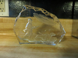 Hunter mit Jagd Hunde Outdoor Glas Kunstwerk Glas Massiv Schreibtisch - $24.86