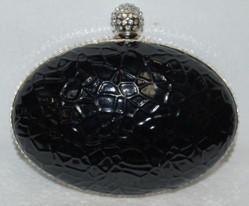 Ins Brand Black Silver Alligator Print Purse Clear Rhinestone Studded Opening