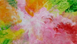 "Akimova: SPRING FLOWER, abstract, wax painting, 6""x11"" - $7.00"