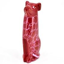 Tabaka Chigware Hand Carved Kisii Soapstone Sitting Red Puppy Dog Figurine Kenya image 2