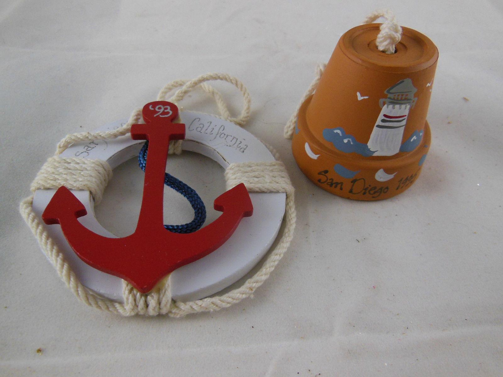 "San Diego Souvenir Christmas Ornaments California 1993 & 95 Bell & anchor 2-3.5"" - $4.15"