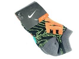 Kids NIKE No Show Socks Shoe Sz 5/6 Sock  9C-13C Graphic Teal/Volt/Orng/... - $9.89