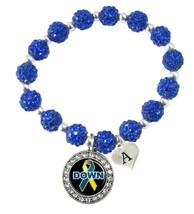 Custom Down Syndrome Awareness Blue Bling Bracelet Jewelry Choose Initial Family - $13.80+