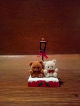 Teddy Bears , Lamp Post , Enesco 1985 Christmas Decoration - $4.00
