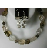 Vintage Heavy Silver-tone Multi-Faceted Clear Glass Necklace ~FREE Earrings - $74.25