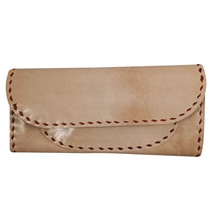 Handmade 1 Fold Genuine Real Leather Women Clutch Beige - $52.14 CAD