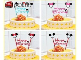 Birthday cake Topper banner Mickey Minnie Mouse Theme party supply    - $6.20