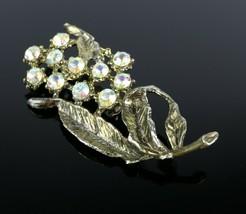 Vintage Costume Fashion Rhinestone Flower Branch Leaf Pot Metal Brooch P... - $8.55