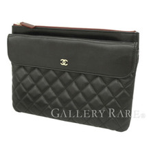CHANEL Classic Large Pouch Lambskin Black Clutch Bag CC Logo Authentic 5... - $919.42