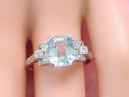 ART DECO 1.8ct AQUAMARINE .18ctw DIAMOND SHOULDERS PLATINUM COCKTAIL RIN... - $979.11