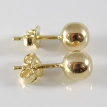 18K YELLOW GOLD EARRINGS WITH 6 MM BALLS BALL ROUND SPHERE, MADE IN ITALY image 2